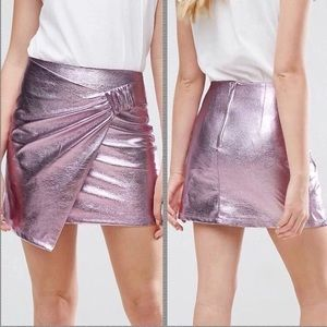 NWT metallic pink vegan leather mini skirt